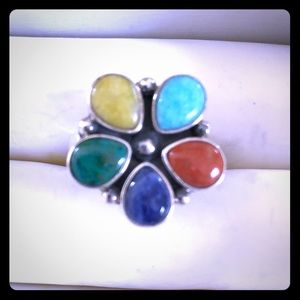 EUC Vtg 925 Southwest Style Natural Gemstone Ring